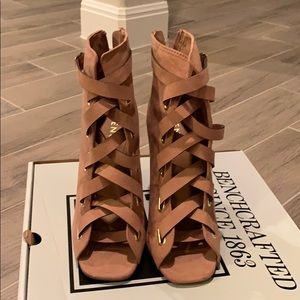 Camel lace up booties size 9.5